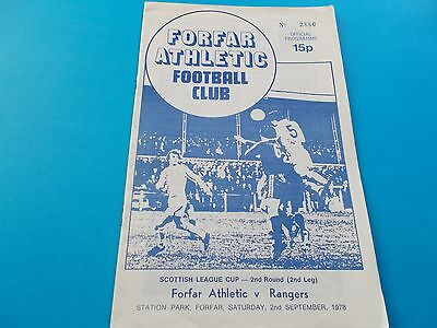 1978-79 Forfar Athletic v Rangers scottish league cup