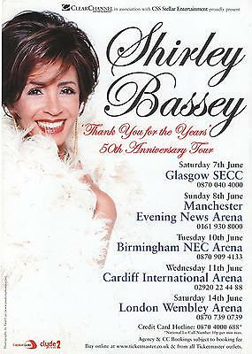 Shirley Bassey Thank You For The Years Uk  Tour  2003 Original  Promo Flyer