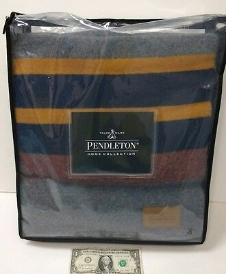 "Pendleton Blankets - Queen Yakima Camp Blanket ""Lake"" 52552 Wool 90""x90"" NEW"