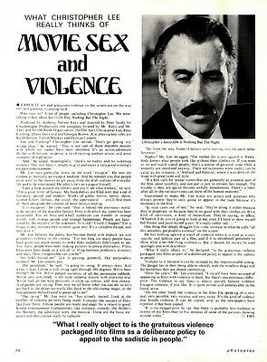 What Christopher Lee Really Thinks Of Is Movie Sex And Violence Article & Pictur