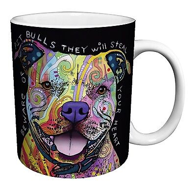 Dean Russo Dog Pit Bulls Steal Your Heart Quote Modern Animal Art Porcelain G...