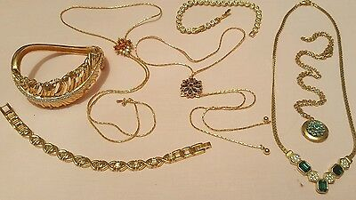 Large Collection Of Vintage Gold Tone & Crystal Set Jewellery