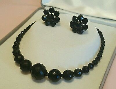 GORGEOUS VINTAGE 1950's FRENCH JET NECKLACE & EARRINGS
