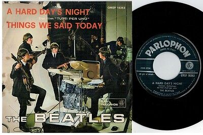 THE BEATLES A hard day's night 45rpm 7' + PS 1964 ITALY MINT- Green label