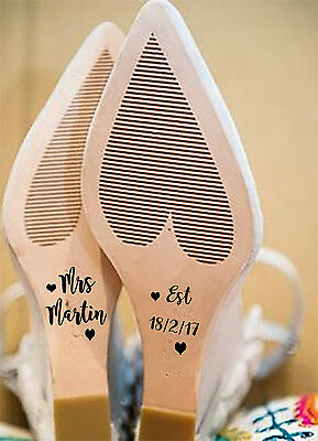 Personalised Wedding Shoe Decals / Stickers Bride To Be, Mrs....choice Of Name