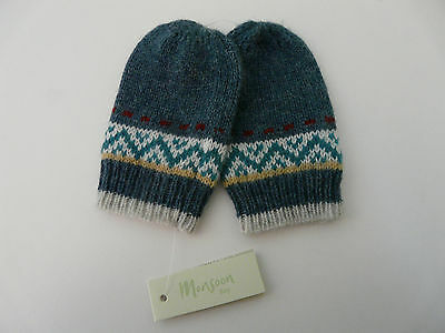 Bnwt Monsoon Baby Boy Blue Wool Blend Fair Isle Knitted Mittens Size 0-12 Months