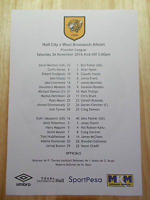 Hull City V West Bromwich Albion Official Coloured Teamsheet 26 November 2016