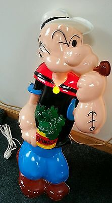 Vintage Popeye The Sailor Man HeadLites Lighted Wall Sculpture w/Original Box!