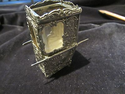 Antique solid silver model carrying chair with glass liner