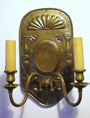 Pair Very Large Antique Brass/Bronzed Engraved Wall Lights Pair Sconces