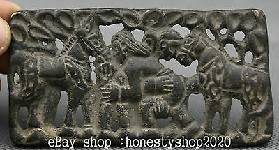 """4.4"""" Antique Chinese Bronze Fengshui Zodiac Year Horse Animal Two People Statue"""