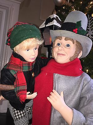 Scrooge Bob Cratchet-TIny Tim Animated Lighted MOTIONETTE 1993 Holiday Creation