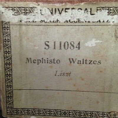 Universal Accentuated S11084 Pianola Roll Memphisto Waltzes Listz