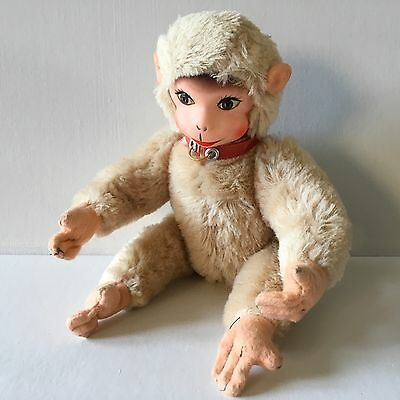 VINTAGE MOHAIR JOINTED MONKEY with SQUEAKER & RUBBER FACE