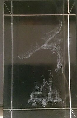Crystal Glass Laser Etched Dragon Attack on  Castle Ornament