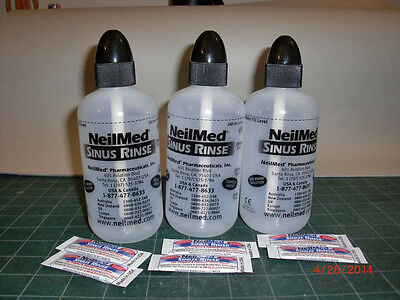 Three (3) NeilMed Nasa Flo Sinus Rinse bottles