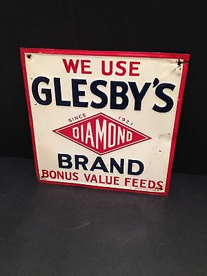 Glesby's Diamond Brand Feeds Sign 1950's Vintage advertising