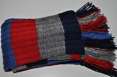 Boys, kids knitted scarf with tassels ,new,striped,grey,blue,red,65 inches long