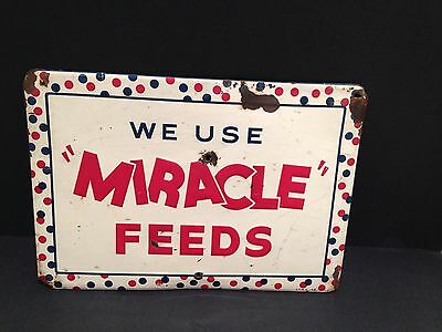 Miracle Feeds Embossed Tin Feed Sign 1956 Vintage advertising Rare Size