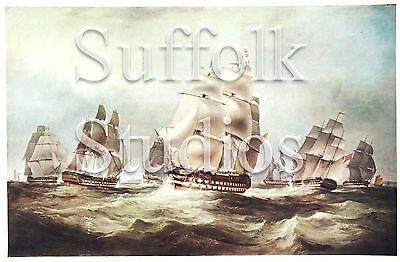 """East Indiamen In The China Seas - Lithograph (1890) By Huggins & Duncan -11""""x14"""""""