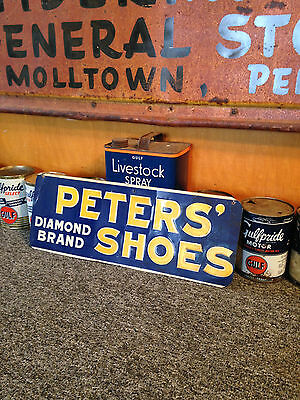 Peters' Diamond Brand Shoes Embossed Metal Sign 1930-40's Original Store Sign!!!