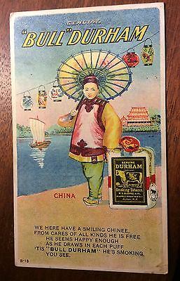 BULL DURHAM Tobacco Advertising Postcard Advert Cigarette Int - CHINA