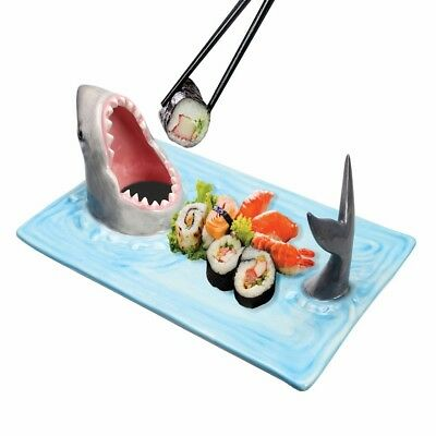 Shark Attack Hand-Painted Ceramic Sushi Serving Platter - Blue Novelty Fun