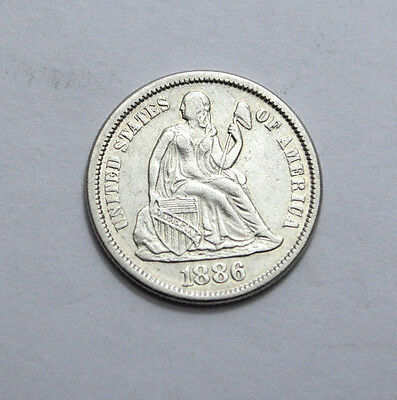 RARE STUNNING Better DATE UNC / MS 1886 SEATED LIBERTY DIME US Silver Coin, 10c