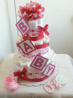 3 Tier Hello Kitty B-A-B-Y Diaper Cake Baby Shower Centerpiece Gift - Pink Red