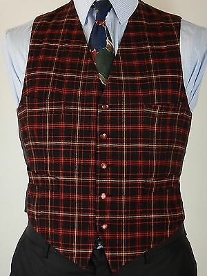 Vintage Mens Red Black Yellow Tartan Check Wool Waistcoat Vest Size 38
