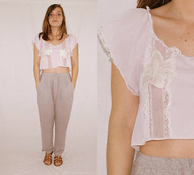 Vintage 70´s LINGERIE TOP sheer panelled SILK ORCHIDEAS lilac LACE crop top