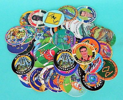 Joblot of 54 Mixed POGS inc. Street Fighter II, TMNT, Premier League '95 Cantona