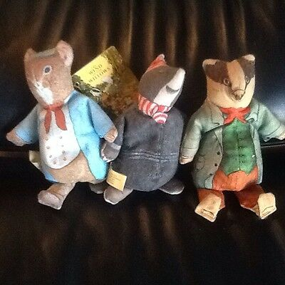 3 Vintage WIND IN THE WILLOWS Toys - The toy Works Plush Badger- Rat - Mole