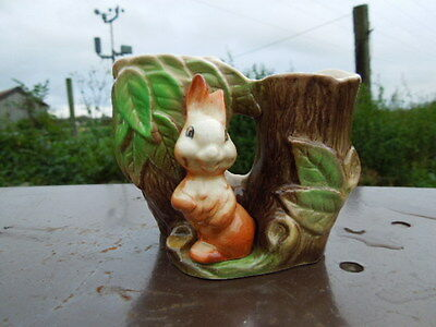 Eastgate Pottery Withernsea Fauna Double Tree Trunk  Posy Vase with Rabbit