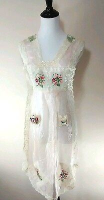 Vintage Pink Silk French Embroidered Lace Trim Pinafore Apron 1919 France USA