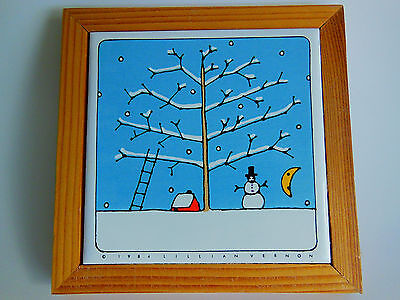 Lillian Vernon Collectible Framed 1984 Tile Trivet Winter Wall Hanging Picture