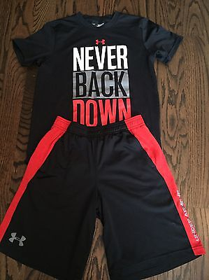 boys Under Armour Shorts and T shirt, Size M