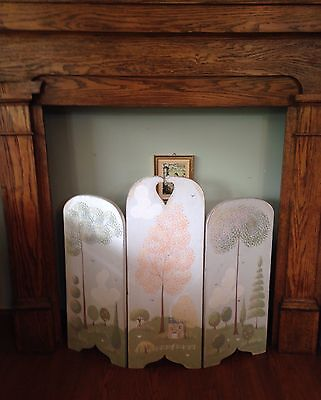 Fireplace Decorative Wood Hand Painted Cottage Home And Landscape Screen 3 Panel