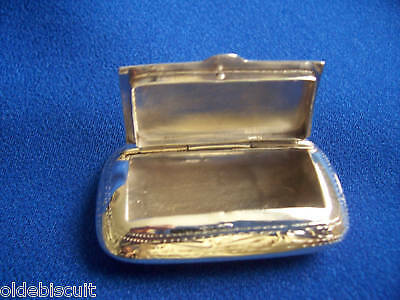 Unusual Solid Silver Snuff Or Pill Box. Fully Assayed Hallmark For London