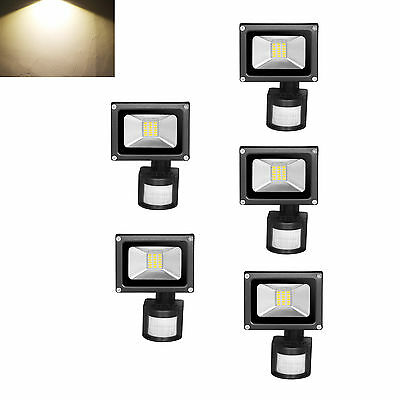 5× 20W PIR LED Floodlight Motion Sensor Security Light Outdoor Lamp Warm White