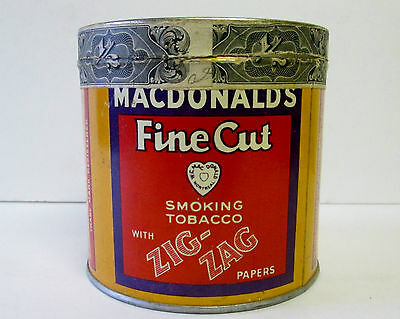 Antique W C Macdonalds Fine Cut With Zig Zag Papers Tobacco Tin  1915 Series
