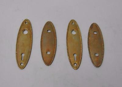 Antique 2 Sets Cast Brass Beaded Door Backplates