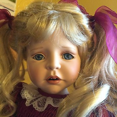 """24"""" Porcelain Doll With Stand"""