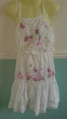 Pretty Monsoon Girls Embroidery Pink/White Cotton Skirt/Top 2 Piece Age 6/8 Yrs