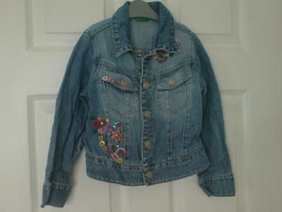 United Colors Benetton Blue Denim Jacket Age 4 Years Embellished Beads Front