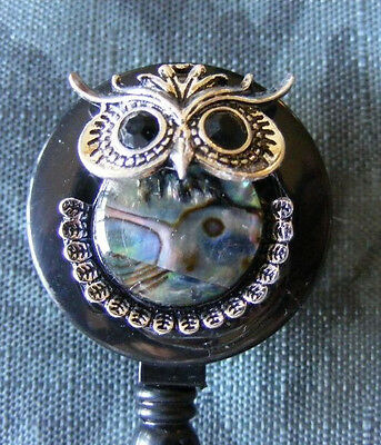 Mother of Pearl Abalone Hoot Owl  ID Badge Tag Key Card Holder Reel Lanyard NEW
