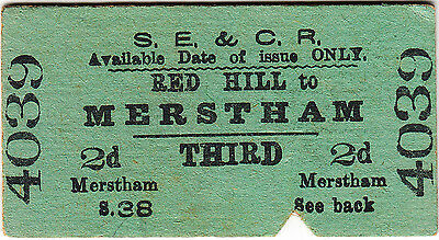 South Eastern & Chatham Railway ticket: 3rd single Red Hill - Merstham 1904