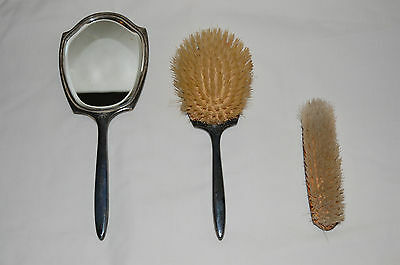 Sterling Silver Matching Set Hairbrush Hand Mirror Clothes Brush Birmingham 1956