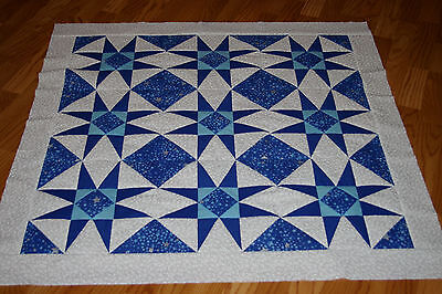 Starry Night 8 Pointed Stars Baby Quilt Top