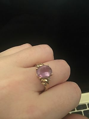 Vintage Yellow Gold Amethyst And Diamond Ring